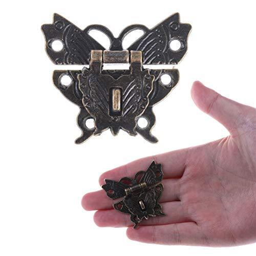 BraveWind 2 Set Vintage Schmetterling Knüpfhaken Verriegelung Schlosskiste Werkzeug Zink Legierung Vorhängeschloss Holz Schmuck Box ()