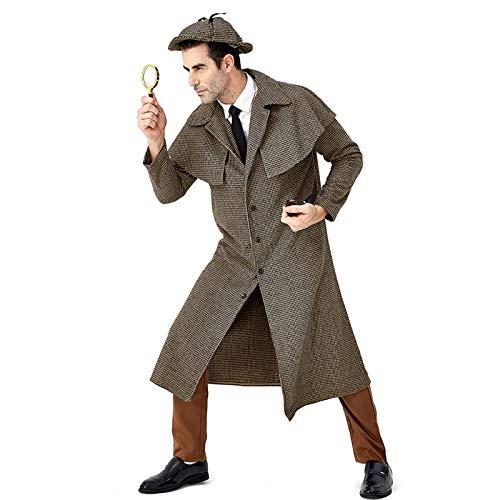 Britische Kostüm Paare - COSOER Großer Detektiv Sherlock Holmes Cosplay Kostüm Halloween-Karneval Britische Karo-Jacke Mit Hohem Kragen,Holmes(Male)-L