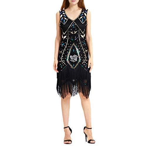 (Kleider Damen,SANFASHION Damen Kleid Retro 1920s Stil Flapper Kleider voller Pailletten Runder Ausschnitt Great Gatsby Motto Party Kleider Damen Kostüm Kleid)