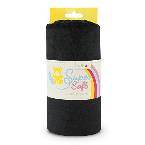 SuperSoft Plüsch Stoff SHORTY in vielen Farben - 1,5mm Florlänge, EN 71-3 & EN 71-9 zertifiziert (schwarz)