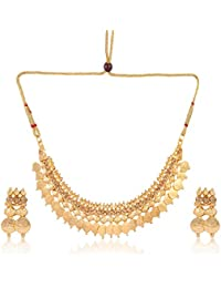 South Indian Traditional Ginni Jewellery Set Astonish Gold Plated Temple Jewellery Coin Necklace Set