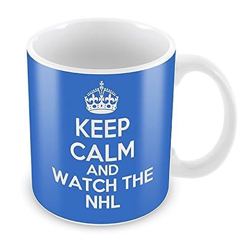 Bleu KEEP CALM and Watch the NHL Mug Tasse à café cadeau idée cadeau de sport