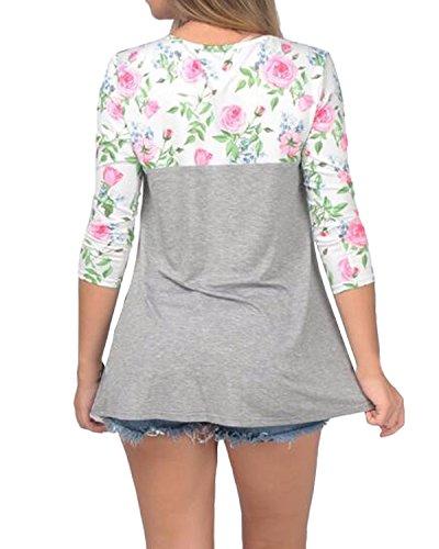Auxo Damen 3/4 Arm Floral Slim Party Club T-Shirt Oberteil Tunika Langshirt Tops Blumen1