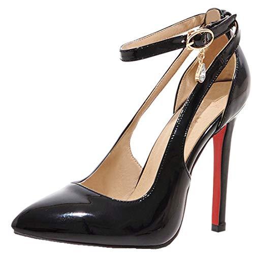YE Damen Lack High Heels Spitze Pumps mit Knöchelriemchen und Stiletto Modern Schnalle Partyschuhe/Brautschuhe