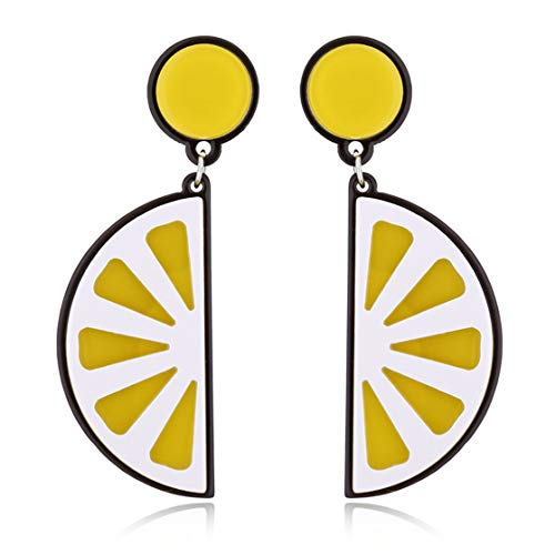 KUHRLRX Obst Ohrstecker Nette Einfache Cartoon Pendent Boho Acryl Stilvolle Kleine Tropfen Kleine Frische Ohrring Schmuck, Zitrone -