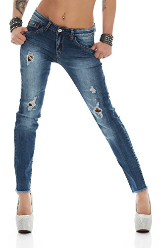 Fashion4Young - Jeans - Femme turquoise turquoise M = 40 Bleu