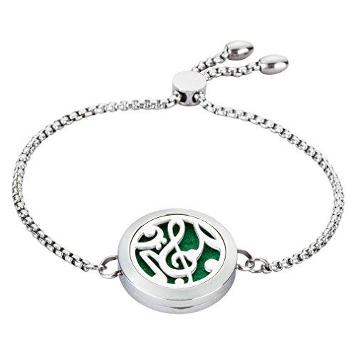 JAOYU Ätherisches Öl Diffusor Armband Aromatherapie Medaillon Diffusor Schmuck Edelstahl Armreif Musik Geschenke für Mädchen, Kinder, Frauen -
