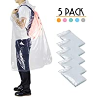 Opret Disposable Rain Ponchos, Thick Emergency Waterproof Ponchos Durable Transparent Lightweight Raincoat with Hood, Pack of 5