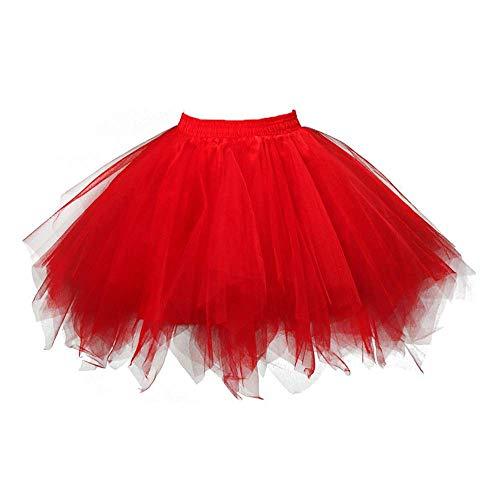WOZOW Damenrock Tulle Einfarbig Kurz Tutu Unregelmäßiger Saum Multi-Schichten Cosplay Tanzkleid Unterkleid Crinoline Karneval Kostüm Frauen (3XL - Barock Tanz Kostüm