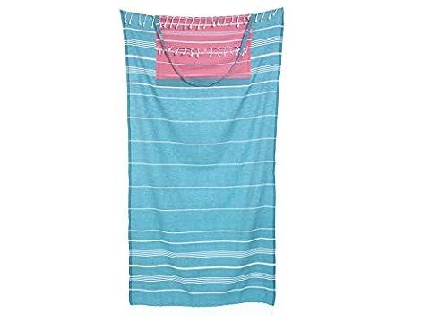 Cacala Peshtemal Turkish Bath Towel & Bag Combo — Converts from Bag to Towel — 100% Cotton — Super Absorbent & Plush— Perfect Beach Bag and Beach Towel - Aqua