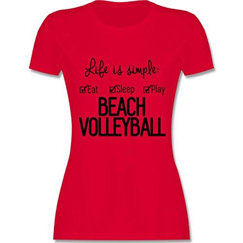 Volleyball - Life is simple Beachvolleyball - tailliertes Premium T-Shirt mit Rundhalsausschnitt für Damen Rot