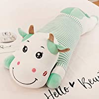 hokkk Cute cow plush toy large 50cm-1.1 m doll sleeping pillow long strip pillow children big doll to send girls birthday gift 50 cm green stripes blink