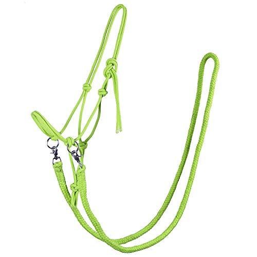 QHP Knotenhalfter mit Zügeln robustes 10 mm dickes Seil verschiedene Farben u. Größen (Vollblut, Lime)