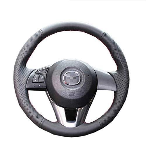 HCDSWSN Rote lederne DIY Auto-Lenkrad-Abdeckung für Mazda CX-5 Mazda 3 Scion 2013-2016 iA 2016 Mazda 6 2014-2016 (Mazda 3 Lenkrad Abdeckung)