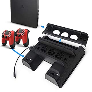 Artistic9 For PS4 Slim Vertical Stand Cooling Fan with 3 USB Hub Ports All-In-One Cooler Controller for PS4/PS4 Pro/PS4 Slim