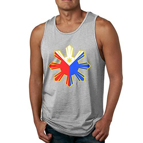 Abigails Home Philippinische Flagge Männer Tank Top ärmellose Shirts Tee Basketball Sport T Shirt Tees Outdoor Fitness(S,grau) - Burnout Wrap Top