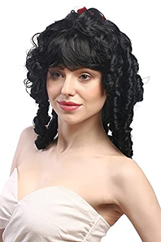 WIG ME UP ® - 63024-P103 Lady Wig for Halloween Fancy Dress Victorian Colonial romantic style black with ribbon coils curls bangs Gothic Lolita