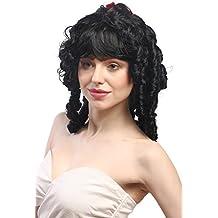 WIG ME UP ® - 63024-P103 Peluca señora Carnaval romanticismo Barroco rizos Espiral Negro