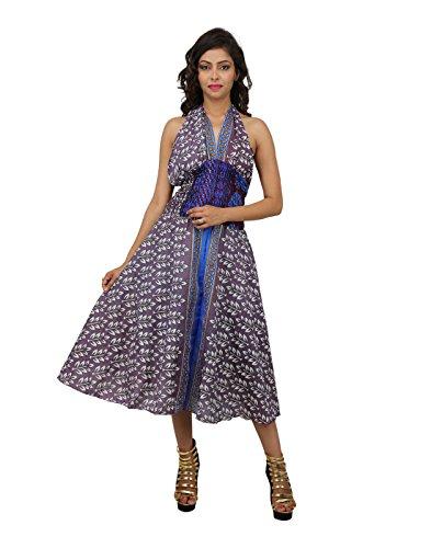 Nice Look Dress Art Silk Grey Printed Leaves Long By Rajrang