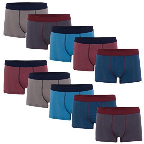 10 farbige Herren Retro Pants Boxershort elastische mit Elastan und Baumwoll weiche Unterhose Short Boxer Pant Hipster (XXXL-9, Farbset 09)