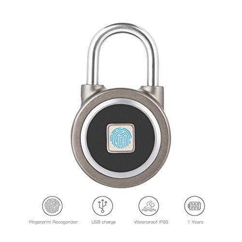Candado con Huella Digital sin llave, Bluetooth Bloqueo, Cerradura Metal Impermeable Seguridad Antirrobo...