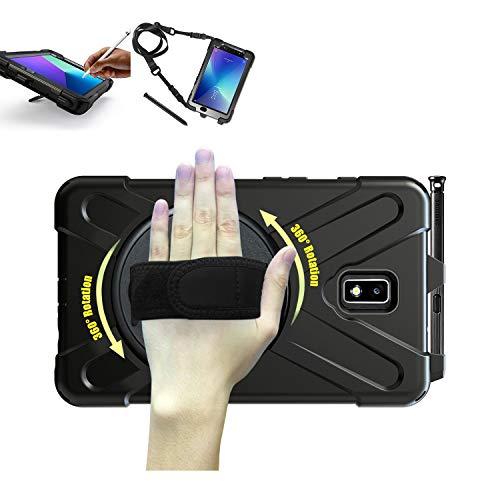 TH000 Étui Samsung Galaxy Tab Active 2 avec Support de Stylo Antichoc Robuste Tout Le Corps Etui de Protection Robuste Dragonne et bandoulière 8 Pouces Convient aux modèles SM-T390 SM-T395 SM-T397