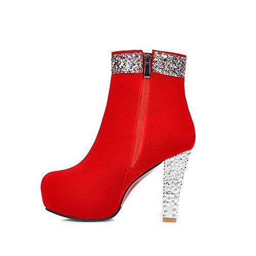 AllhqFashion Damen Mattglasbirne Rund Zehe Rein Niedrig-Spitze Hoher Absatz Stiefel, Rot, 41