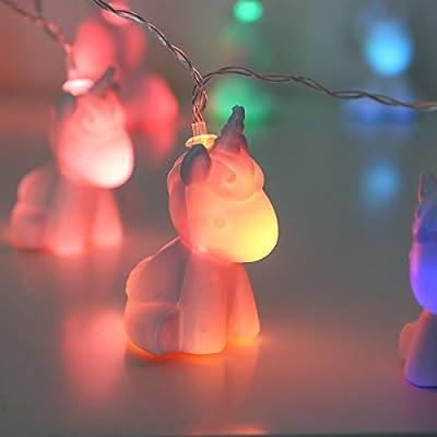 batteriebetriebene Lichterkette im niedlichen Einhorn Design - mit fabelhafter und träumerisch verspielter Farbwechsel-Funktion – EXKLUSIV - nur bei Festive Lights erhältlich