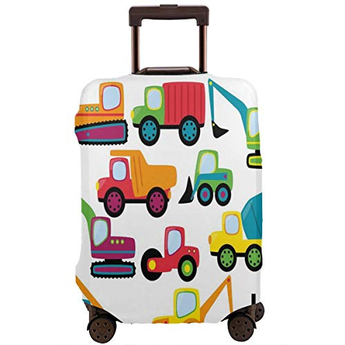 Travel Luggage Cover,Cute Style Vehicles Heavy Equipment Forklift Earthmover Excavator Mixer Suitcase Protector
