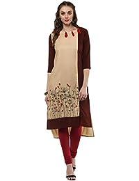 [Sponsored Products]Janasya Women's Beige Printed Crepe High Low Hemline Kurti (JNE2066-KR-199)