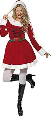 Smiffys Déguisement Femme, Mère Noël, avec robe, Taille 40-42, Couleur: Rouge, 33597