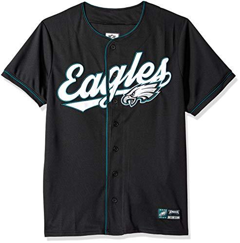Icer Brands NFL Philadelphia Eagles Herren Jersey T-Shirt Button Up Mesh Baseball Shirt, Large, Schwarz -