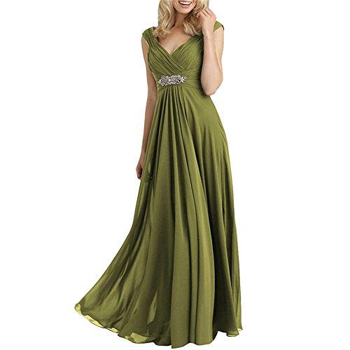 HWAN Frauen A Linie mit V Ausschnitt Chiffon Mutter der Braut Kleider olive (Abendkleider Von Jovani)