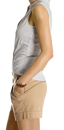 Bestyledberlin Damen Shorts, kurze Chino Hosen, Damenhosen, Bundfaltenhosen j161p Beige