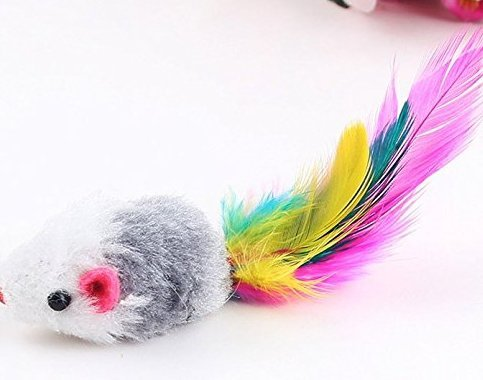 4pcs Furry kitten Mice Cat Toys with Feathers and Fur(Random Color)