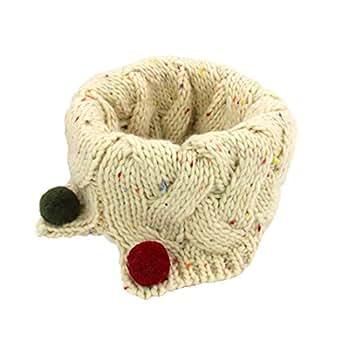 Boomly Autunno e Inverno Carino Caldo Sciarpe Lana a Maglia O-ring Loop Sciarpa Sciarpe con Pom Pom Sciarpa Infinita Scaldacollo per Bambini (Beige)