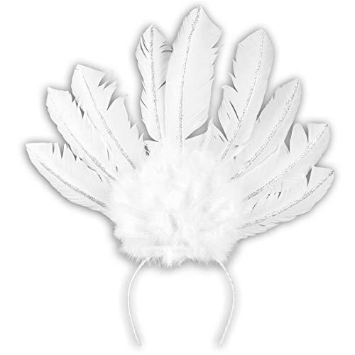 Amakando Eleganter Feder-Haarschmuck Samba-Tänzerin / Weiß / Burlesque Haarband / EIN Blickfang zu Straßenkarneval & Mottoparty
