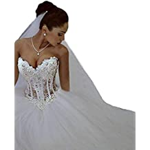 Changjie Mujeres Vestido de novia sin tirantes encaje de tul con rebordear Vestido de novia