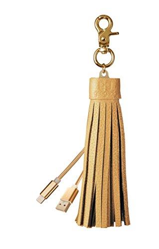 Preisvergleich Produktbild - Micro-USB- und Lightning-Kabel Schlüsselanhänger, iPhone und Android Ladekabel mit Quaste aus echtem Leder und Schlüsselring–von Gee Gadgets