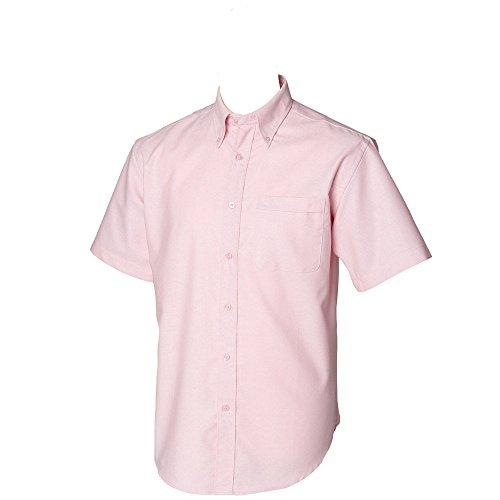Henbury Mens Short Sleeve Classic Oxford Work Formal Shirt pink