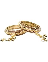 Luxaim Stylish Gold-Plated Cuff Bracelet Bangles Kada Kadaa For Girls, Women, Ladies, Crystal Stone With White...
