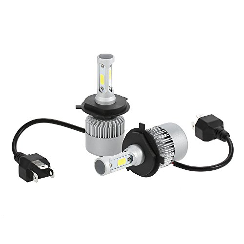 KKmoon 2Pcs H4 LED Faro Bombillas Alquiler de Luces 30W 3000LM Conversión Impermeable IP68 Blanco para Coche