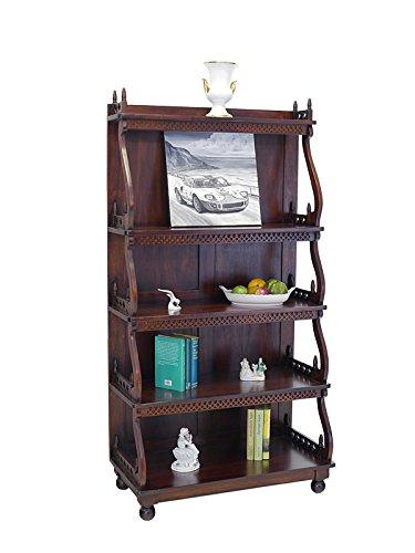 Regal Bücherregal Holzregal Antik Stil aus Massivholz in Nussbaum Dunkel (6704) Antik-weiße Bücherregal