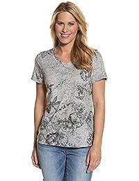 GINA LAURA Damen bis Größe 3XL   T-Shirt   Rosendruck, Blumenmuster    Kurzarm   Regular-Fit   Meliert, Print  … 0faa8064d6