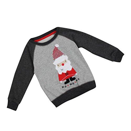 Baby Santa Top Chritsmas Pullover Langarm Oansatz Pullover Shirt Prined Santa Clause Outfit für 2-7 Jahre Jungen und Mädchen von (Santa Outfits Clause)