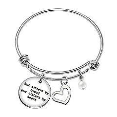 Idea Regalo - Bracciale rigido per migliore amica / sorella, perfetto come regalo di laurea, di matrimonio o di anniversario, con perla, ciondolo a forma di cuore e ciondolo con scritta