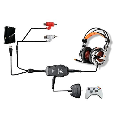 Sades 3,5 mm Gaming Headset Heasphones Anschluss Konvertieren Kabel Adapter für PlayStation3 PS3 Xbox 360 PC (Ps3-sades Gaming-headset,)