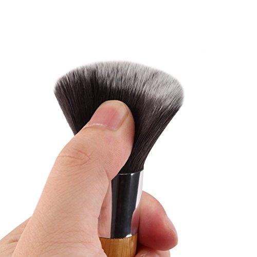 11 Pcs Maquillage Fard à Paupières Fondation Correcteur Pinceaux Ensembles + Sponge Blender Puff (Couleur: Bois et Argent)
