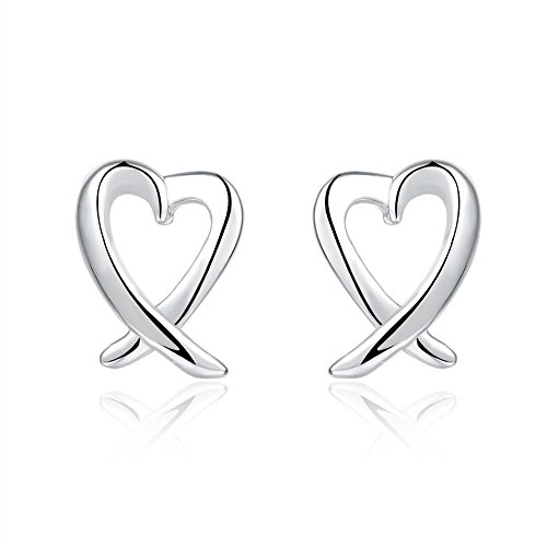 Used, BODYA Pair Women's silver plated open ribbon Heart for sale  Delivered anywhere in UK