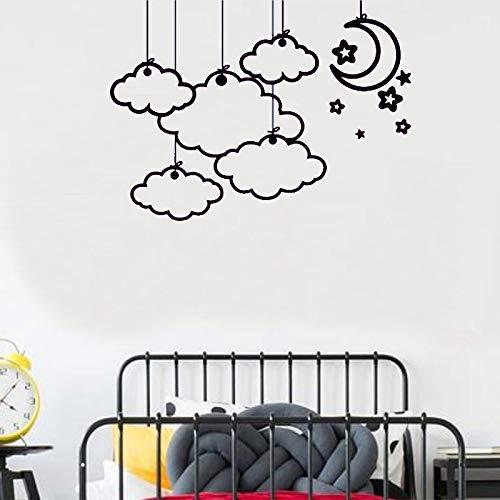 zhuziji Sticker Mural Nuage de Bande Dessinée Étoiles Modèle De Lune Stickers Muraux pour Chambre d'enfants Bébé Chambre d'enfant Chambre Décoration Maison Déc 888-1 78x57cm